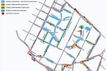 Aktuální mapa Městského parkovacího systému v Poděbradech.