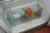 Znečištěná vnitřní část chladícího zařízení pro skladování potravin v době kontroly hygieniků.