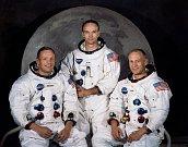 Posádka Apolla 11 v roce 1969. Zleva: Neil Armstrong, Michael Collins, Edwin Aldrin.
