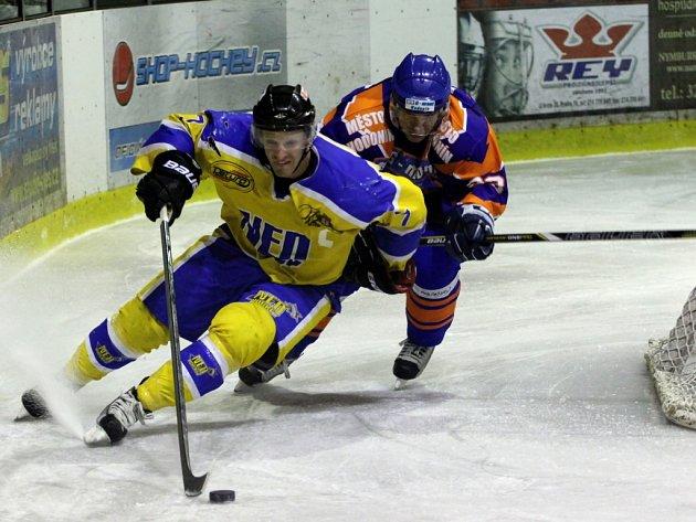 Z utkání druhé hokejové ligy Nymburk - Hodonín (5:4 po prodl.)