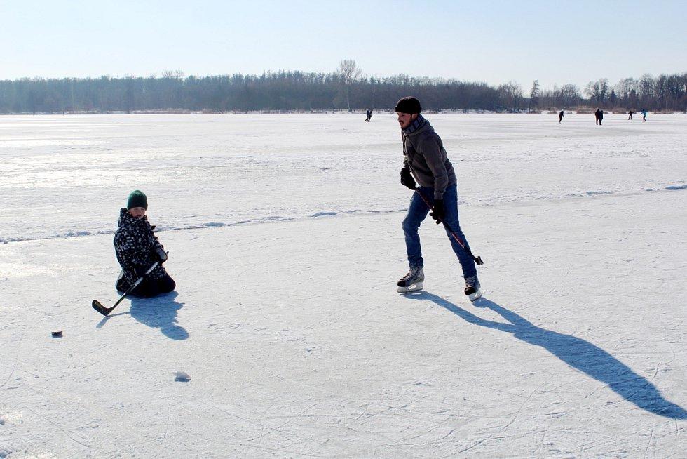 Zamrzlé rybníky v Polabci i zdejší Jezero přilákaly o víkendu desítky bruslařů.