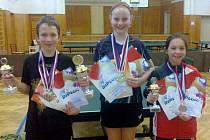 PŘEBORNÍCI KRAJE. Mladí stolní tenisté z okresu patřili na přeborech v Rakovníku mezi nejlepší. Medaile získali Pavel Sláčal, Věra Franeková (uprostřed) i Petra Klokočníková