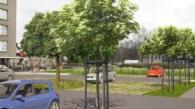 Vizualizace prostoru u budovy policie, kde vznikne nové parkoviště.