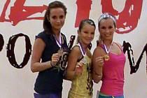 Medalistky Sokola Poděbrady. Zleva: Tereza Poláčková, Niki Skopalíková a Simona Sluťáková