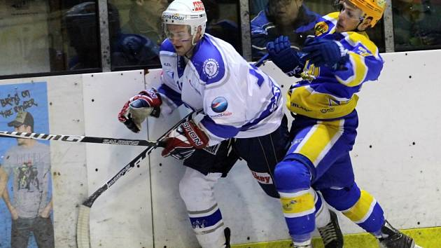 Z hokejového utkání play off druhé ligy Nymburk - Kolín (5:0)