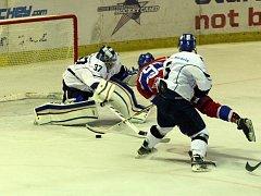 Z hokejového utkání druhé ligy Nymburk - Tábor (3:4 pp)