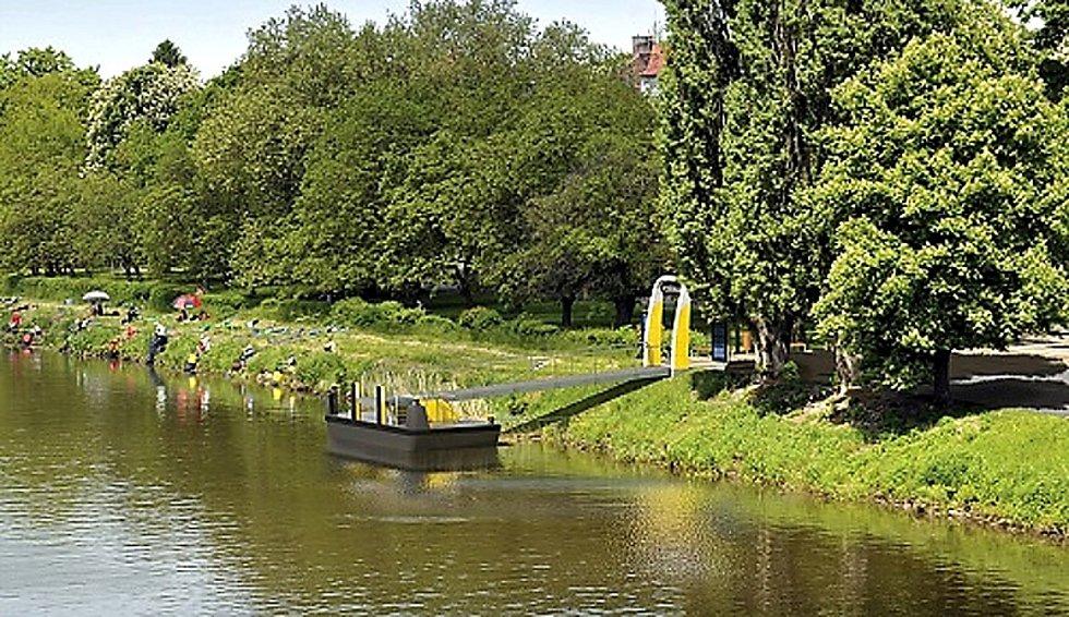 Vizualizace přístaviště pro osobní lodě v Poděbradech