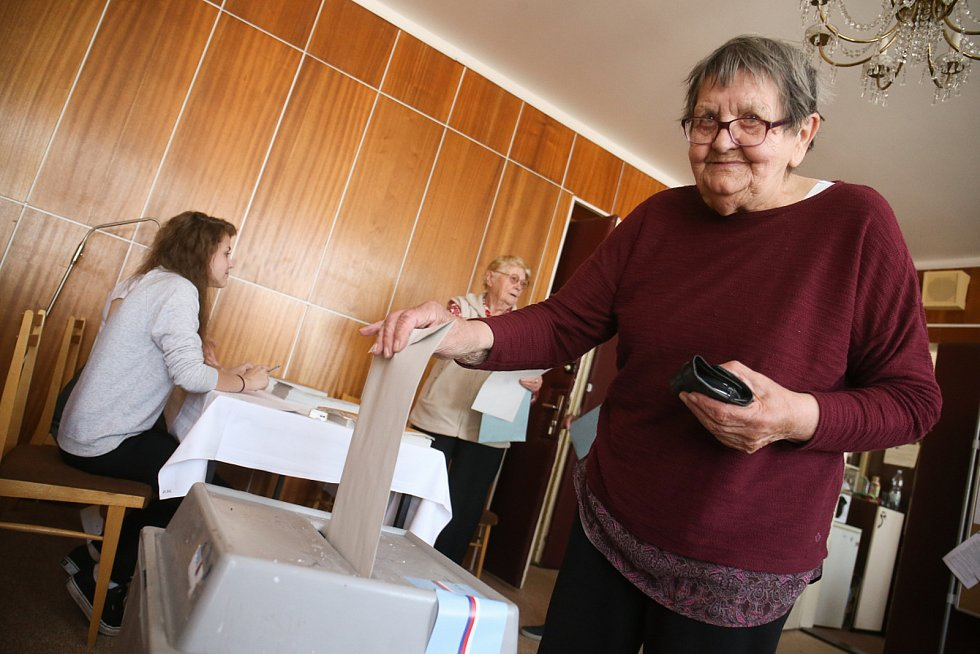 Volby do EP na Nymbursku, volební místnost v Libici nad Cidlinou