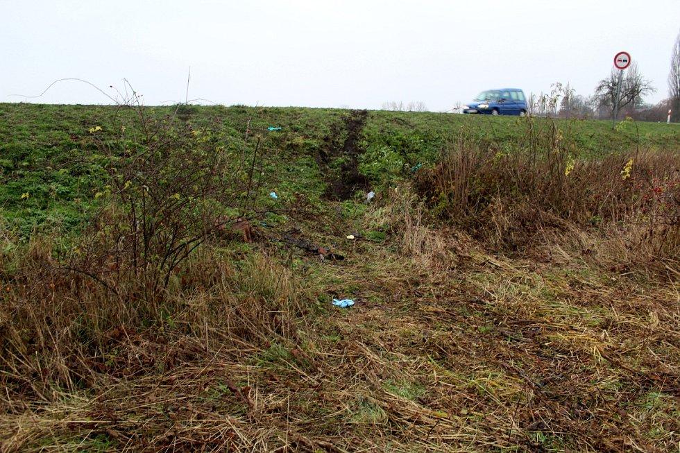 Místo u Okřínka, kde došlo k tragické nehodě