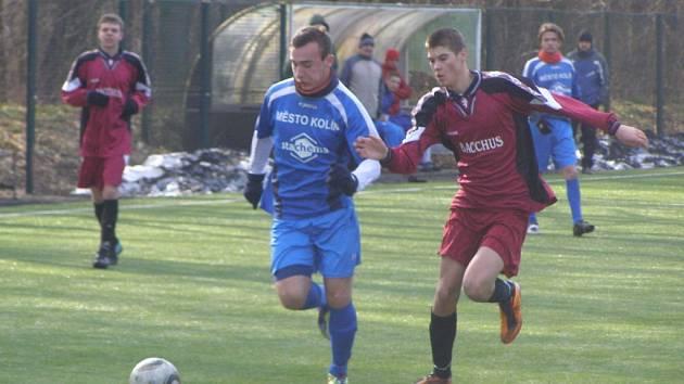 Z přípravného fotbalového utkání Slovan Lysá - dorost Kolína U19 (0:8)