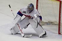 JAROSLAV BRÁZDIL, brankář nymburského hokejového týmu, vychytal v zápase s pelhřimovskými Ledními Medvědy čisté konto