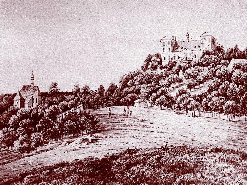 Kostel a zámek, kresba Mcel z roku 1863