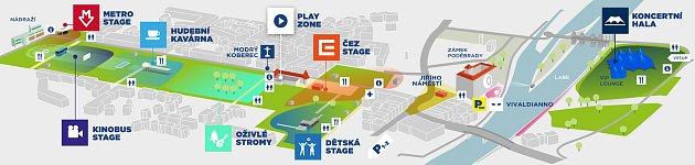 Plánek jednotlivých festivalových scén.
