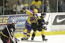 Z utkání druhé hokejové ligy Nymburk . Sokolov (3:2).