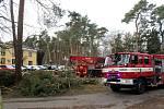 Mohutný strom spadl v policejním školícím středisku v Sadské.
