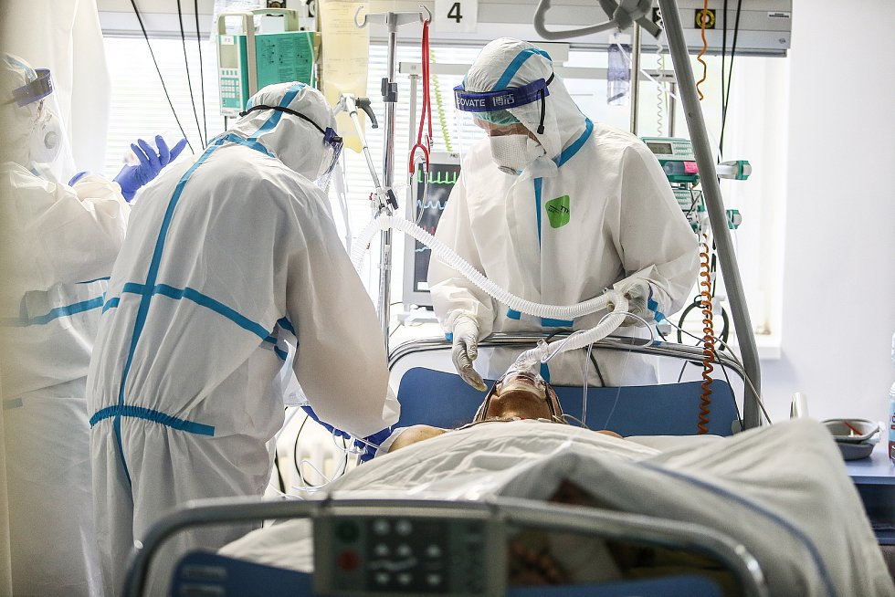 Oddělení pro pacienty s covid-19 v Nemocnici Nymburk.