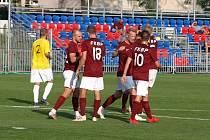 Z fotbalového utkání krajského přeboru Bohemia Poděbrady - Tuchlovice (4:1)