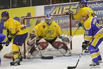 Z utkání II. hokejové ligy Nymburk - Milevsko (4:2).