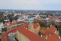 Pohled na Poděbrady z ptačí perspektivy.