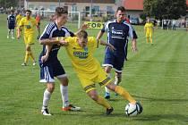 Z fotbalového utkání krajského přeboru Vykáň - Poříčany (5:5, penalty 3:4)
