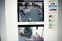 Při pohledu na monitor lze sledovat reálné dění na dvou místech Nymburka