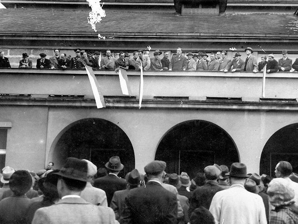 V centru Poděbrad na konci druhé světové války.