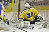 Z hokejového utkání druhé ligy Nymburk - Písek (3:4 po nájezdech)