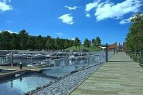 Vizualizace přístaviště pro malé sportovní lodě v Poděbradech.