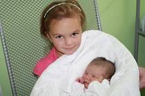SABINA JE Z PEČEK. Sabina Chaloupková poprvé zaplakala v nymburské porodnici 20. srpna 2014 ve 13.20 hodin. Vážila 3 150 g a měřila 47 cm. Je prvním miminkem Karolíny a Tomáše z Peček. Na nový přírůstek v rodině se těšila i malá tetička Adélka.