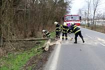 Předem avizované poryvy silného větru znamenaly komplikace také na Nymbursku. V půl čtvrté vítr shodil strom přes celou silnici v Babíně. Hasiči za pár minut silnici v obou směrech zprovoznili.
