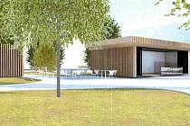Vizualizace místa se stánkem občerstvení a veřejnou toaletou, jak by mělo vypadat už v příštím roce.