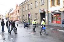Nehoda motorkáře u nymburského kina