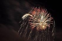 Novoroční ohňostroj v Nymburce.
