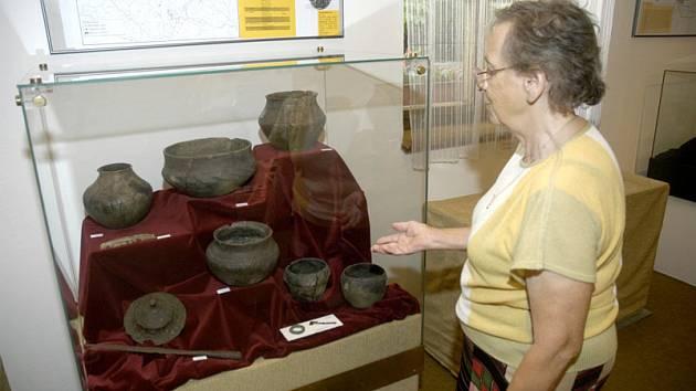 V expozici jsou k vidění předměty i kosterní pozůstatky zejména z nalezišť v Záluží u Čelákovic a Mochova, ale i Vestce, Slovče, Třebestovic, Pňova nebo Opolánek.