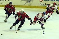 Z přípravného hokejového utkání Nymburk - Jeblonec (2:4, nedohráno)