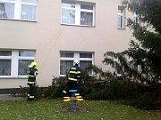 Zásahy dobrovolných hasičů mimo jiné u mateřské školy Větrník nebo spadlého stříbrného smrku před restaurací Dřevák.