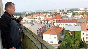 Výhled z věže kostela svatého Jiljí v Nymburce.