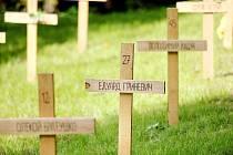 Symbolický hřbitov Nebeské setiny. 107 dřevěných křížů odkazuje na oběti kyjevského Majdanu. Park u hradu Špilberk v Brně.
