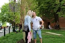 Pod nově vysazenou jabloní před kaplí svatého Jana Nepomuckého se políbilo na 1. máje 63 párů.