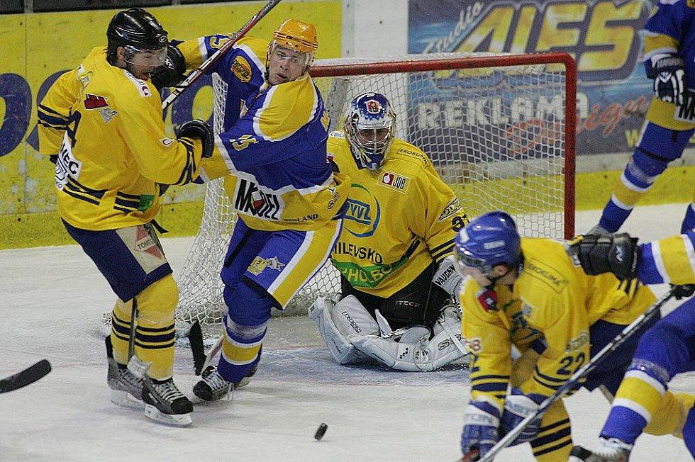 Z hokejového střetnutí druhé ligy Nymburk - Milevsko (4:1)