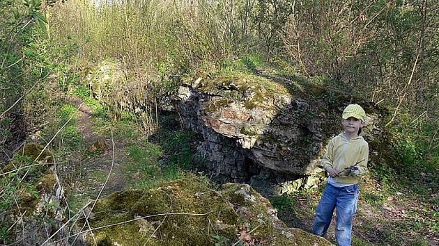 Zbytky hradu Mydlovar u Ostré na Nymbursku.