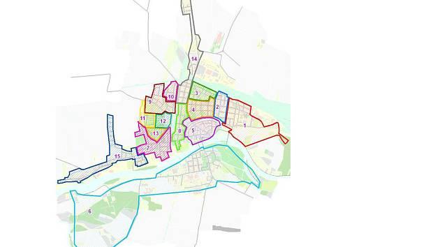 Rozdělení Nymburka podle volebních okrsků.