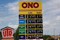 Nejlevnější benzin a nafta u sledovaných čerpaček je v Kolajích.