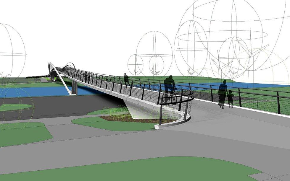 Vizualizace nové lávky přes Labe v Nymburce.