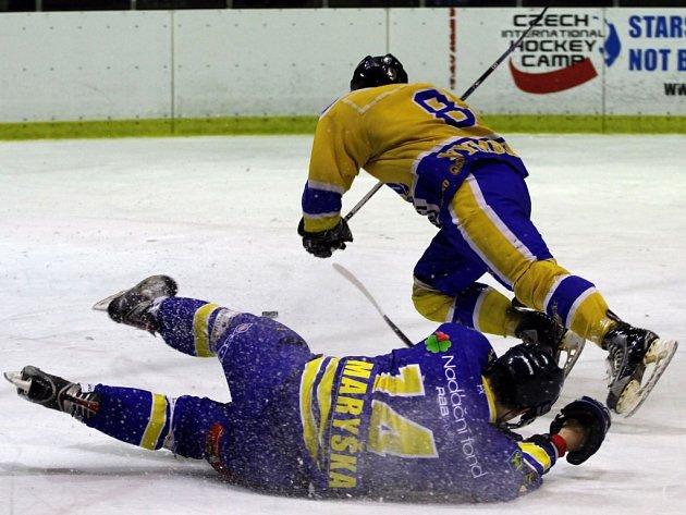 Z utkání druhé hokejové ligy Nymburk - Jindřichův Hradec (7:0)