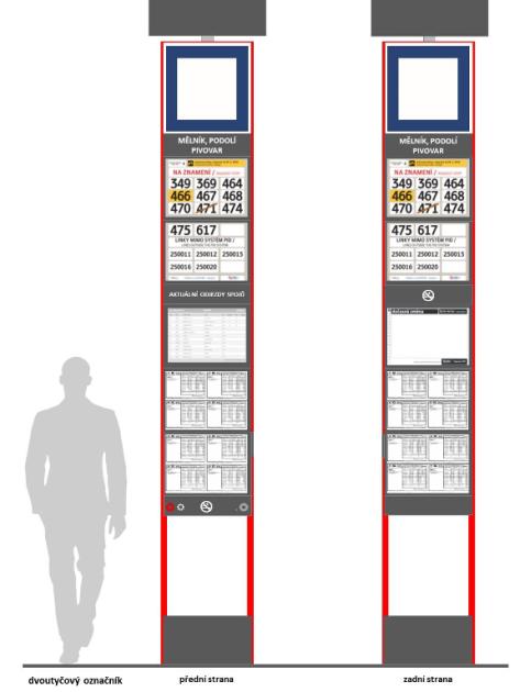 Příklad nového dvoutyčového označníku (základní varianta – barevné řešení)