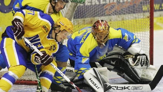 Z utkání druhé hokejové ligy Nymburk - Roudnice (6:0).