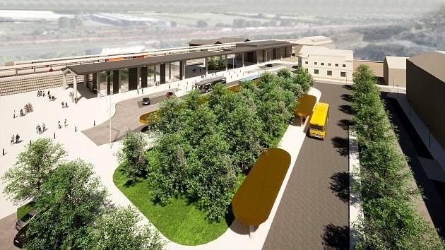 Vizualizace Správy železnic s variantami s i bez historické nádražní budovy.