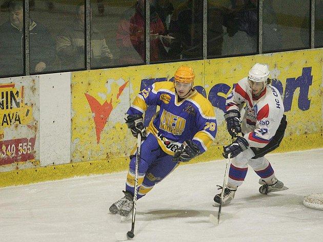 Z hokejového utkání druhé ligy Nymburk - Chotěboř (6:2)