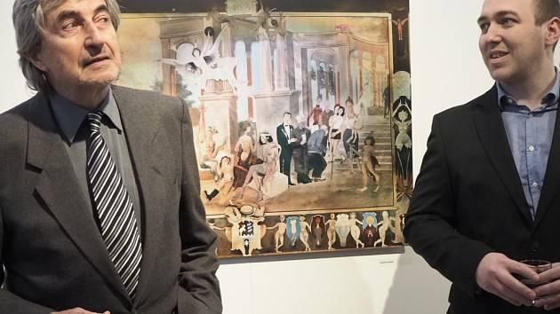 Vernisáž výstavy grafických prací Jiřího Suchého nazvaná Kresleno na kámen.